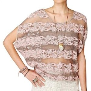 Free People County Fair Banded Bottom Lace Top S